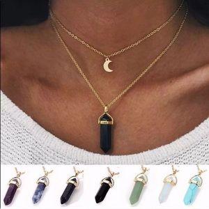 Boho Moon Layered Chakra Necklace Turquoise